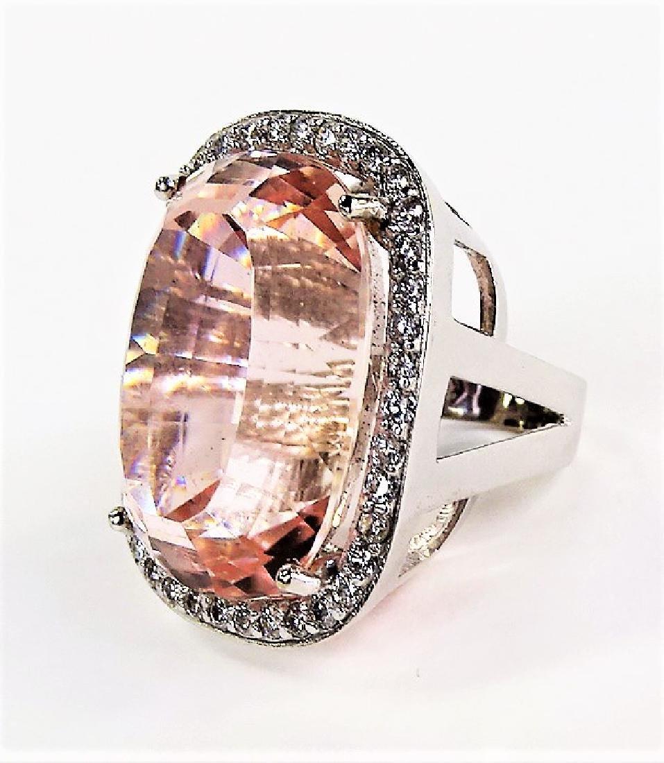 ESTATE 14KT WHITE GOLD 76CT KUNZITE & DIAMOND RING - 3