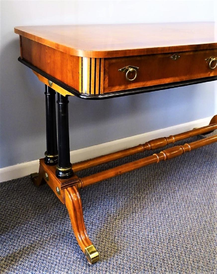 REGENCY STYLE MARQUETRY TOP TWO DRAWER DESK - 3