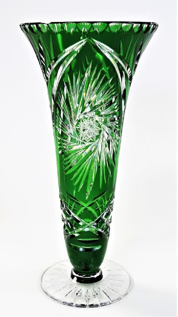 BOHEMIAN EMERALD CUT TO CLEAR FOOTED GLASS VASE