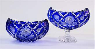 2 BOHEMIAN COBALT CUT TO CLEAR CRYSTAL BOWLS