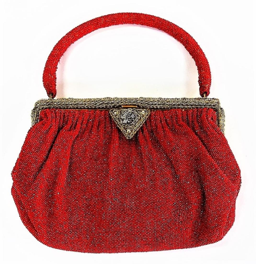 VINTAGE FRENCH RED BEADED HANDBAG