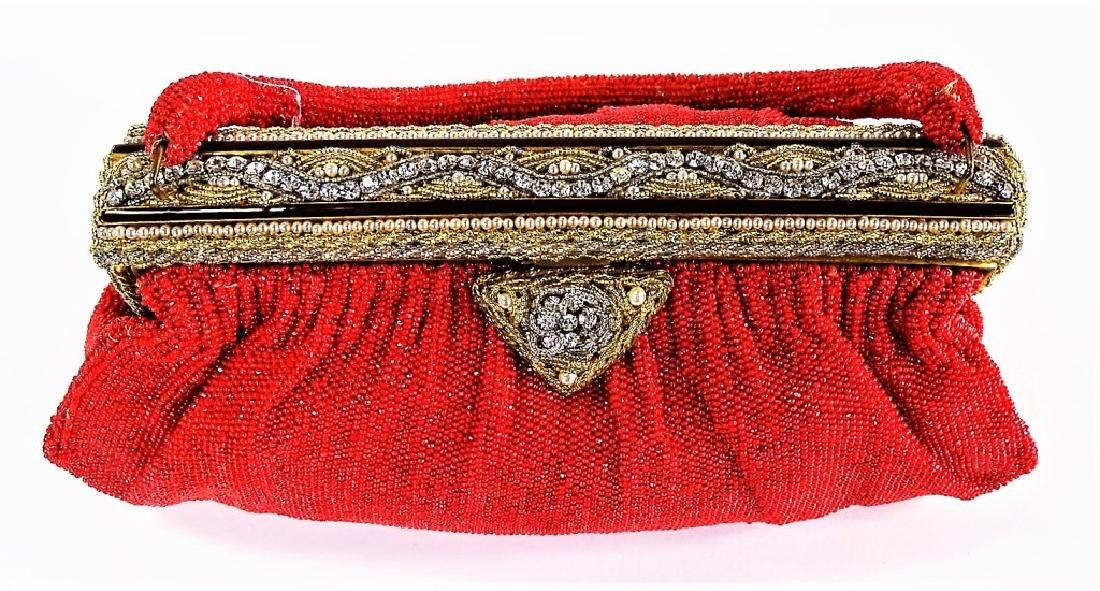 VINTAGE FRENCH RED BEADED HANDBAG - 2