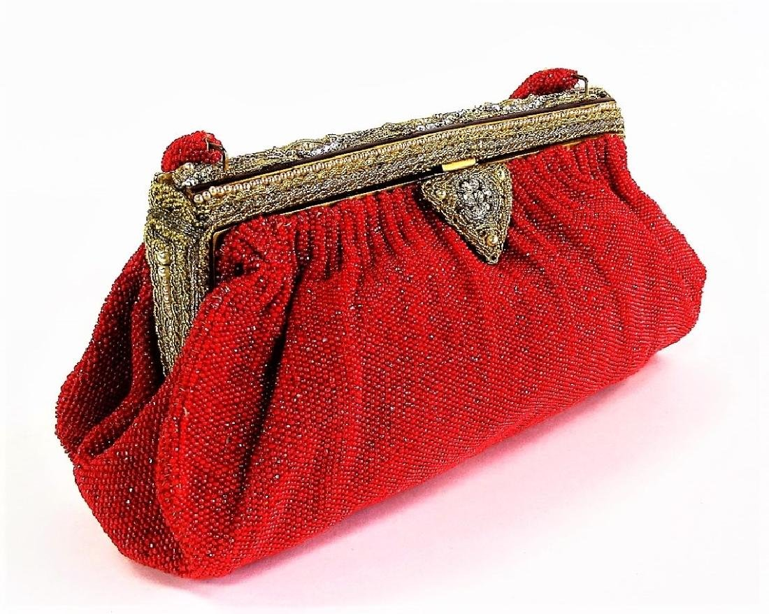 VINTAGE FRENCH RED BEADED HANDBAG - 3