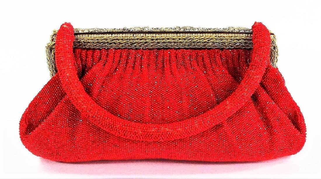 VINTAGE FRENCH RED BEADED HANDBAG - 5