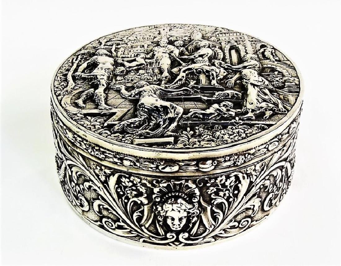 ANTIQUE GERMAN ROUND 800 SILVER COVERED BOX