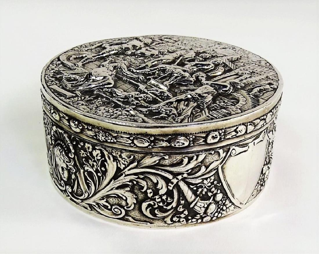ANTIQUE GERMAN ROUND 800 SILVER COVERED BOX - 4