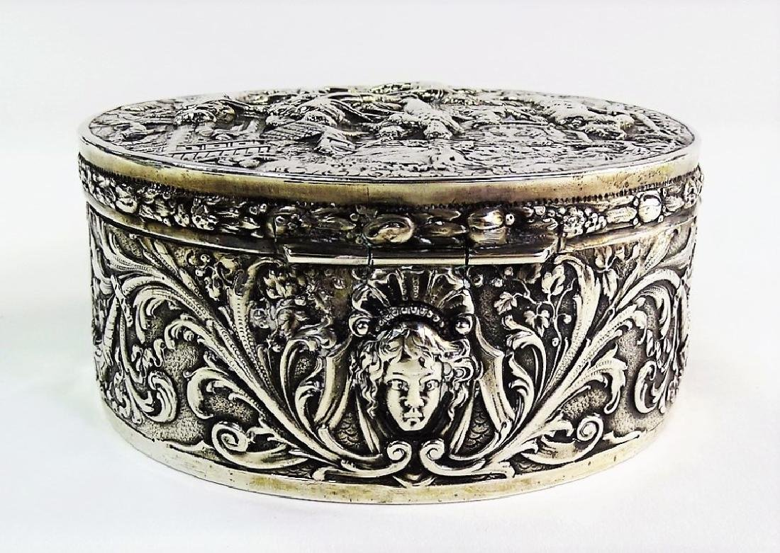 ANTIQUE GERMAN ROUND 800 SILVER COVERED BOX - 5