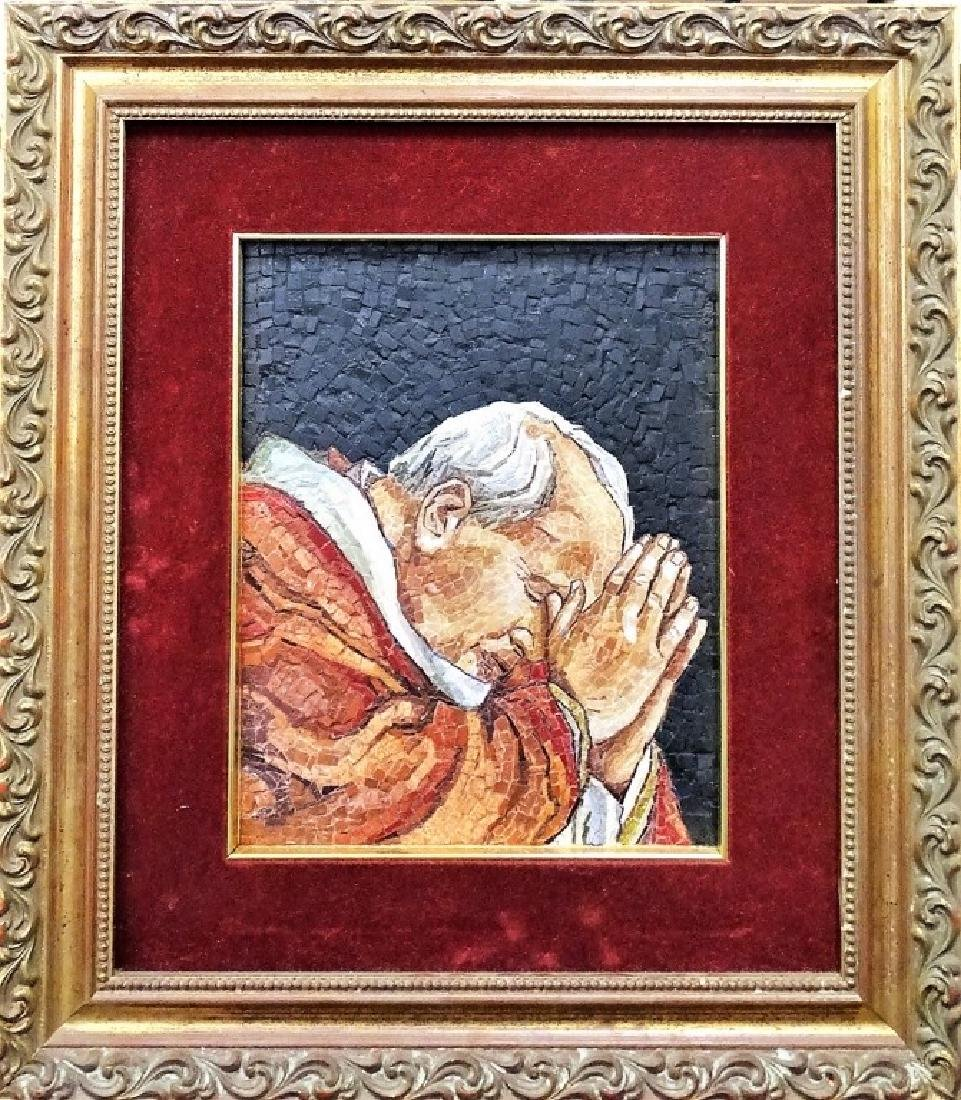 ITALIAN RELIGIOUS MOSAIC OF POPE JOHN PAUL II