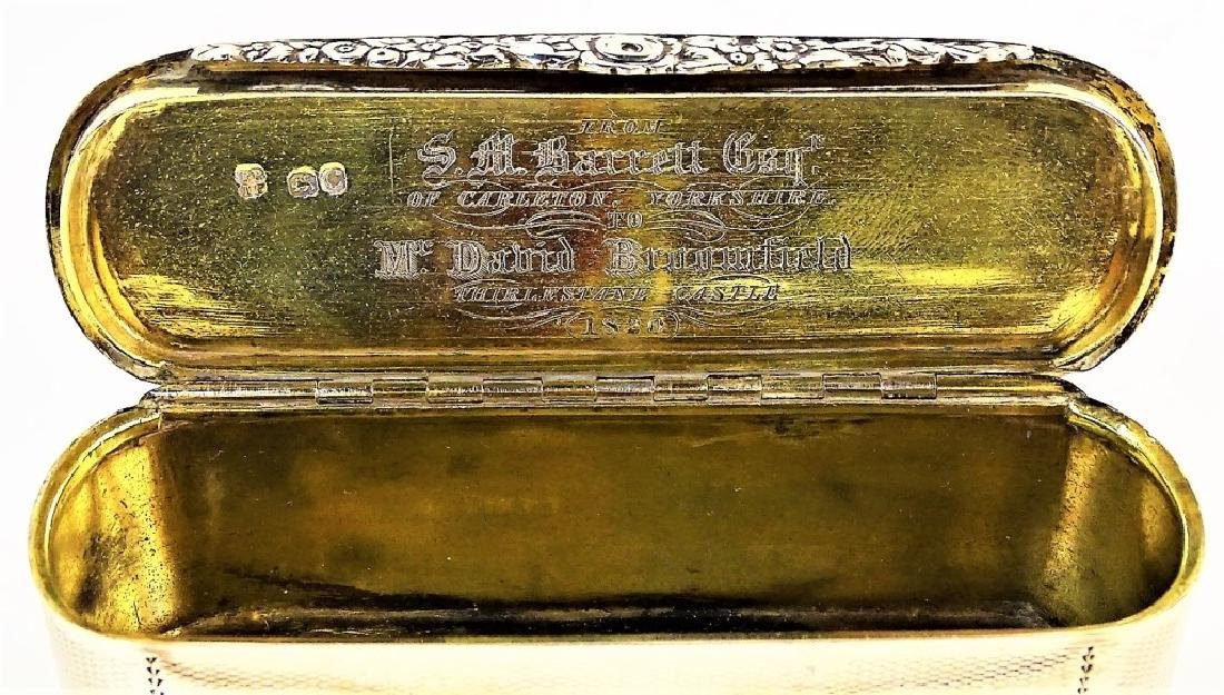 A GEORGE III OVAL STERLING SILVER TOBACCO BOX - 4