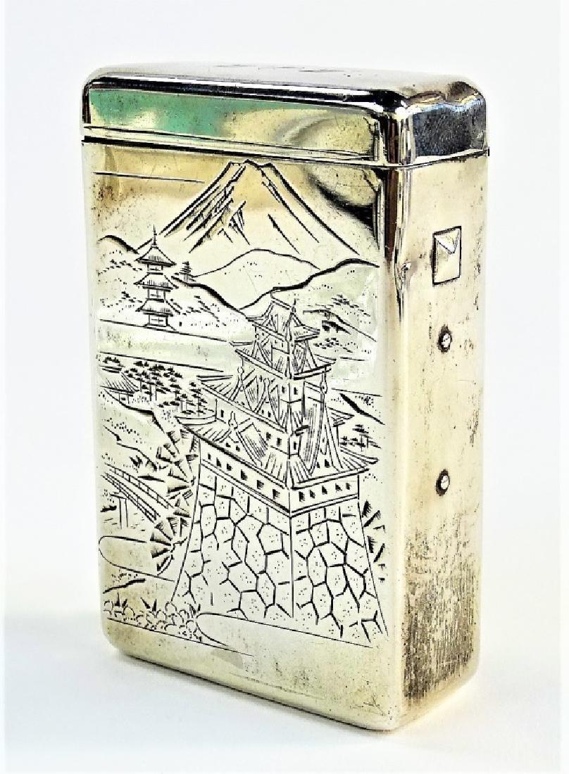 ENGRAVED JAPANESE .950 STERLING CIGARETTE BOX
