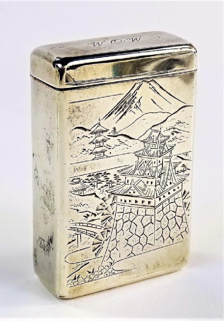 ENGRAVED JAPANESE .950 STERLING CIGARETTE BOX - 2