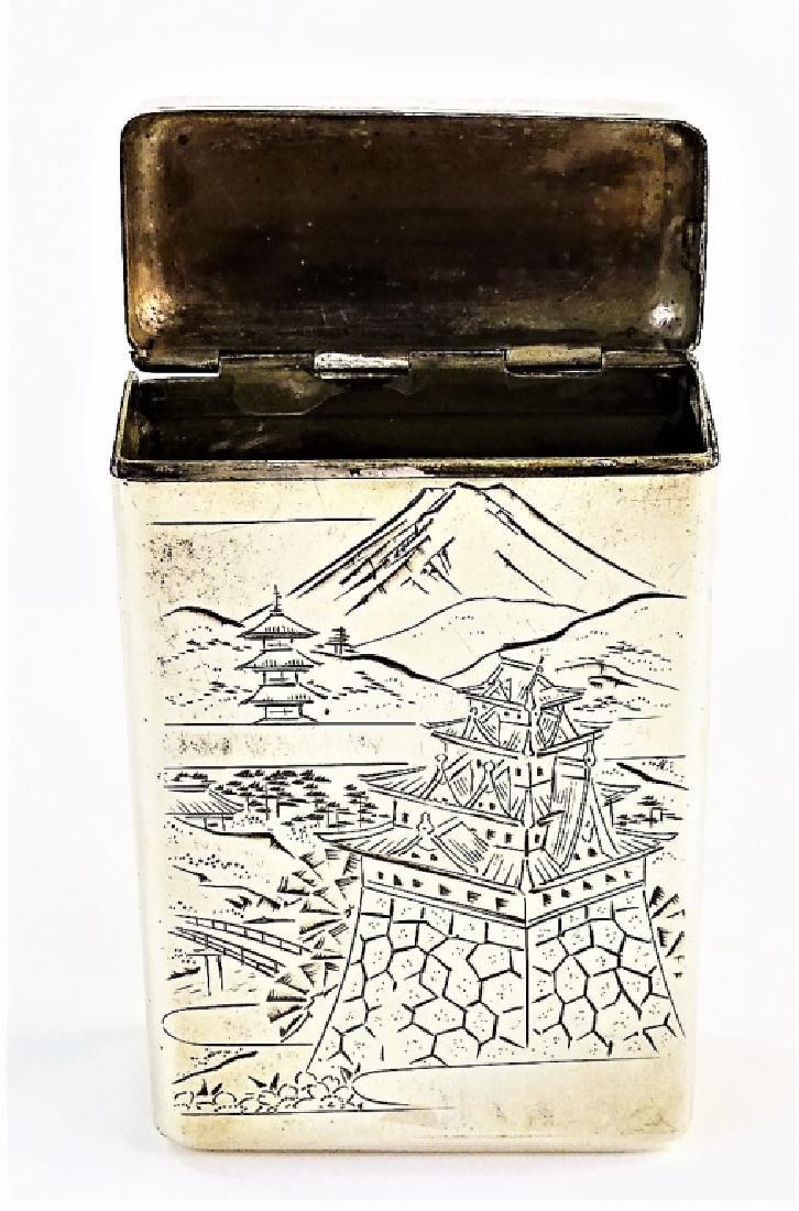ENGRAVED JAPANESE .950 STERLING CIGARETTE BOX - 3