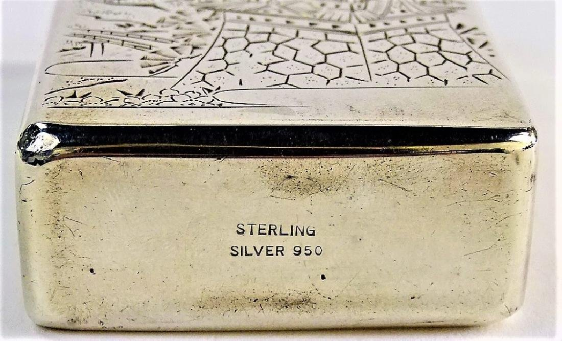 ENGRAVED JAPANESE .950 STERLING CIGARETTE BOX - 5
