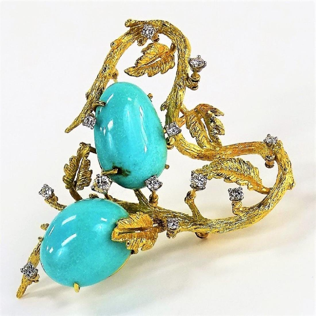 14KT GOLD TURQUOISE ENTREMBLE DIAMOND BROOCH
