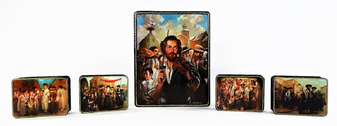 HAND PAINTED M.O.P. JUDAIC LACQUER BOX SET