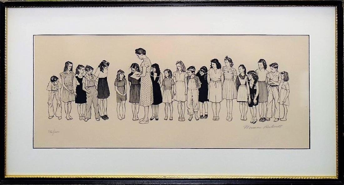 """NORMAN ROCKWELL """"SPELLING BEE"""" LITHOGRAPH SIGNED"""