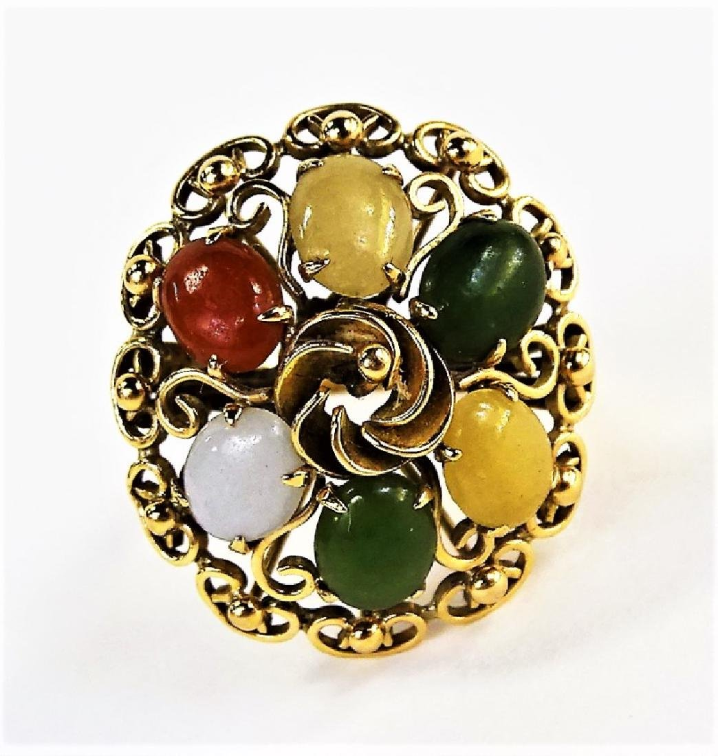 VINTAGE 14KT GOLD & MULTI CABOCHON STONE RING