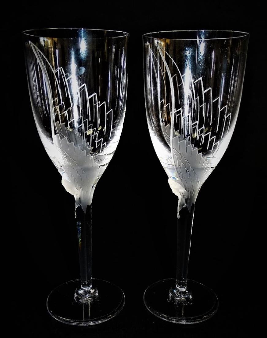 PR LALIQUE FRANCE CRYSTAL ANGEL CHAMPAGNE FLUTES