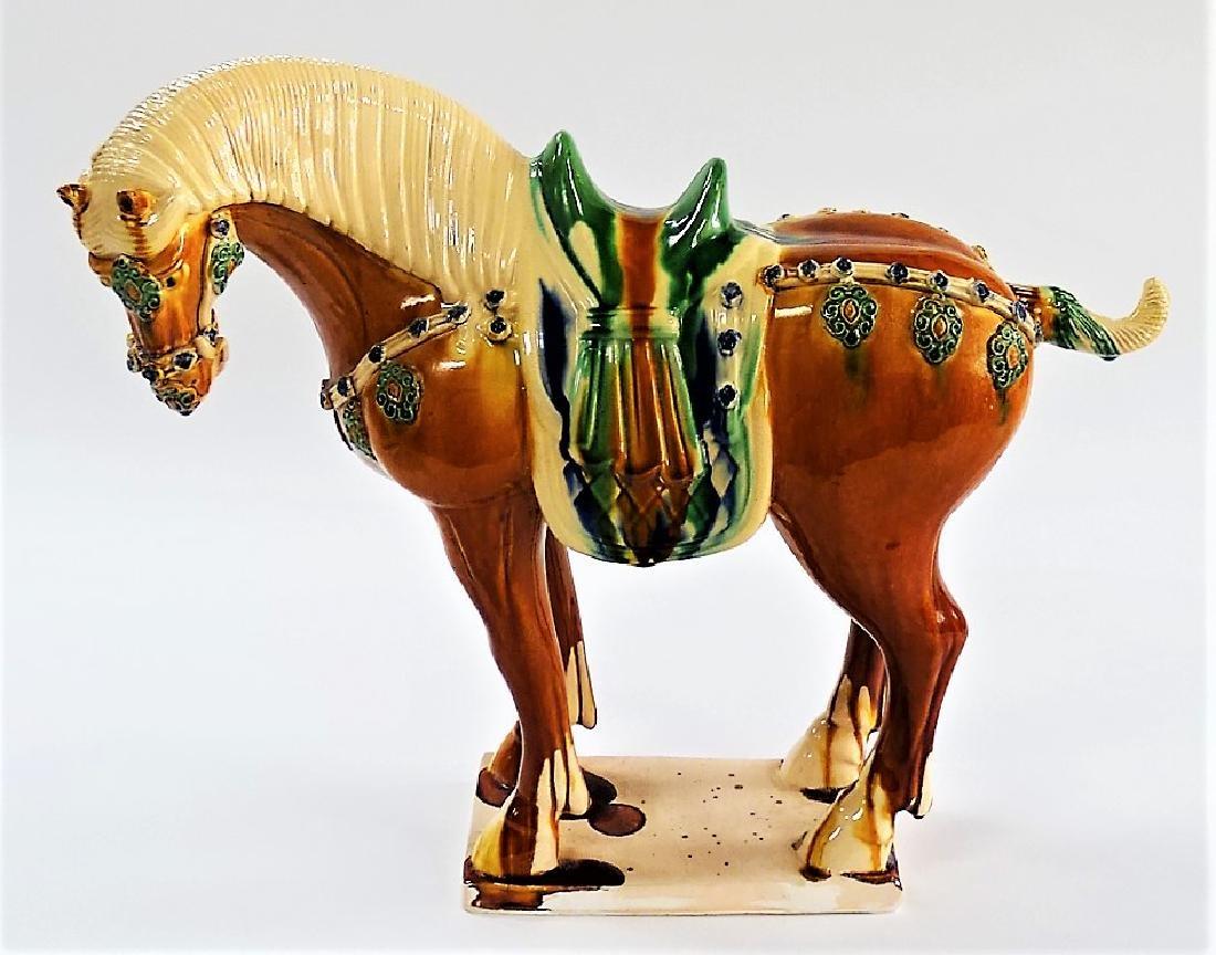 20TH CENTURY TANG STYLE SANCAI GLAZE POTTERY HORSE