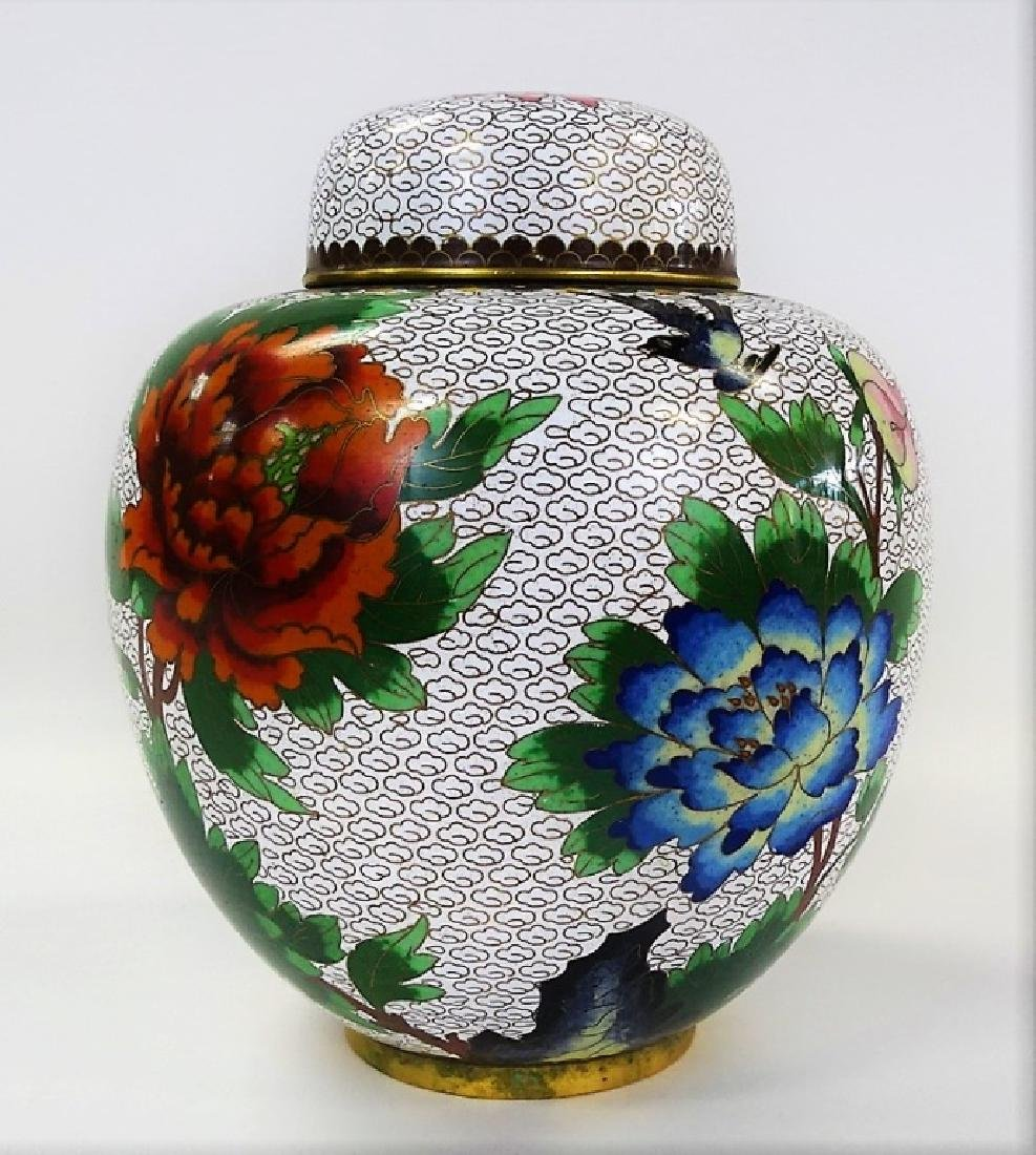 20TH CENTURY FLORAL CLOISONNE GINGER JAR