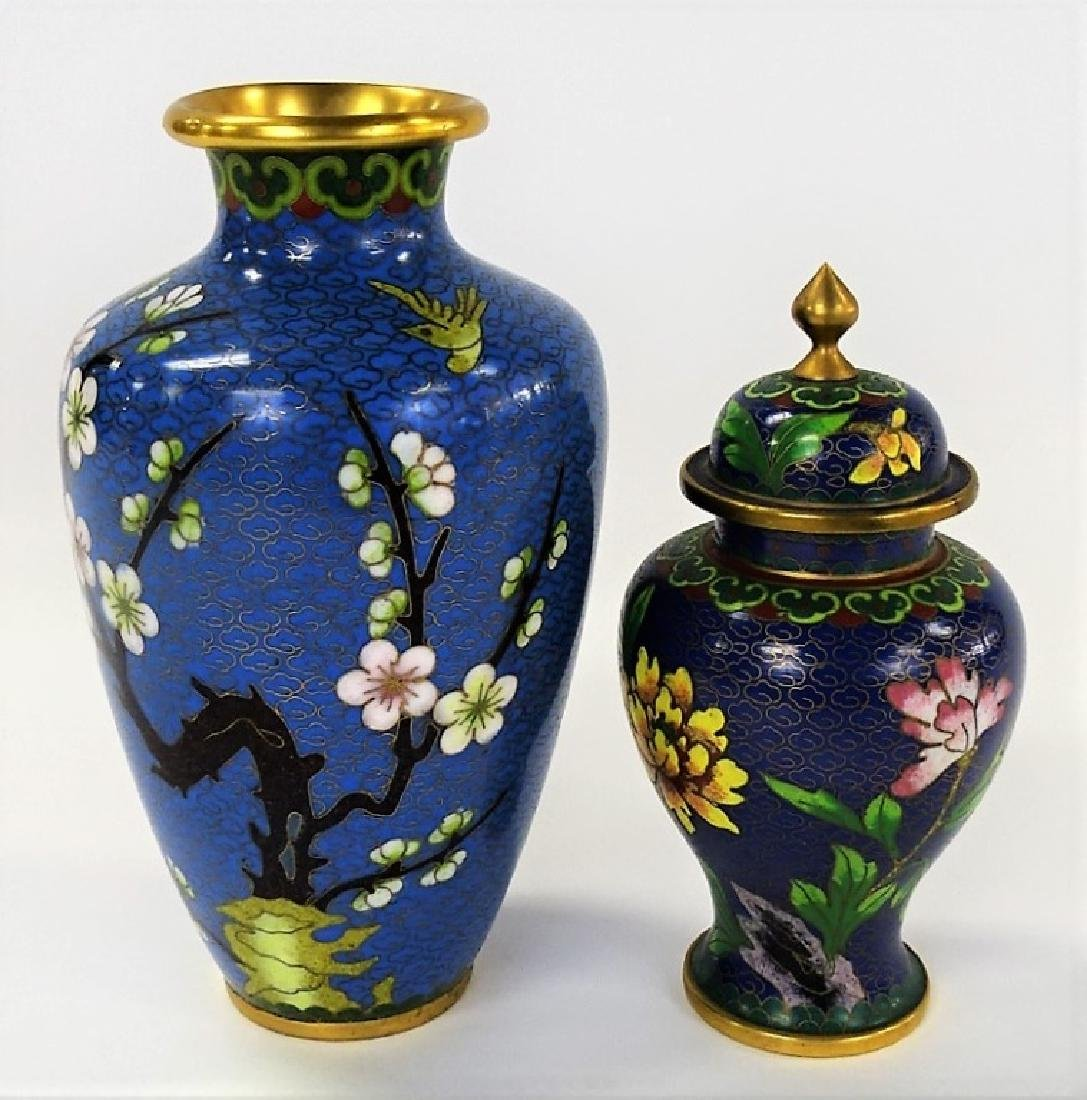 TWO 20TH CENTURY CHINESE FLORAL CLOISONNE ITEMS
