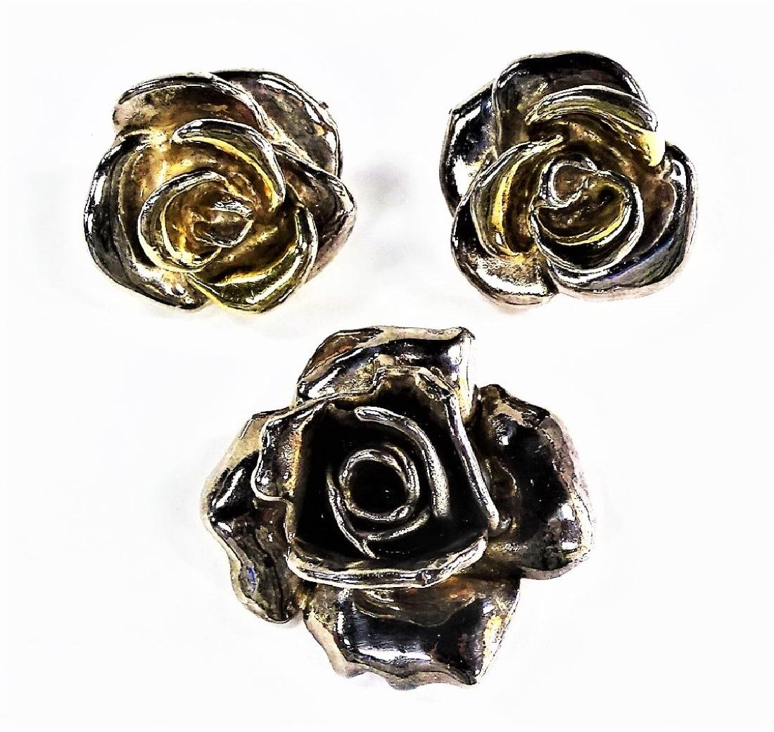 3PC VTG STERLING OVERLAID FLORAL JEWELRY SUITE
