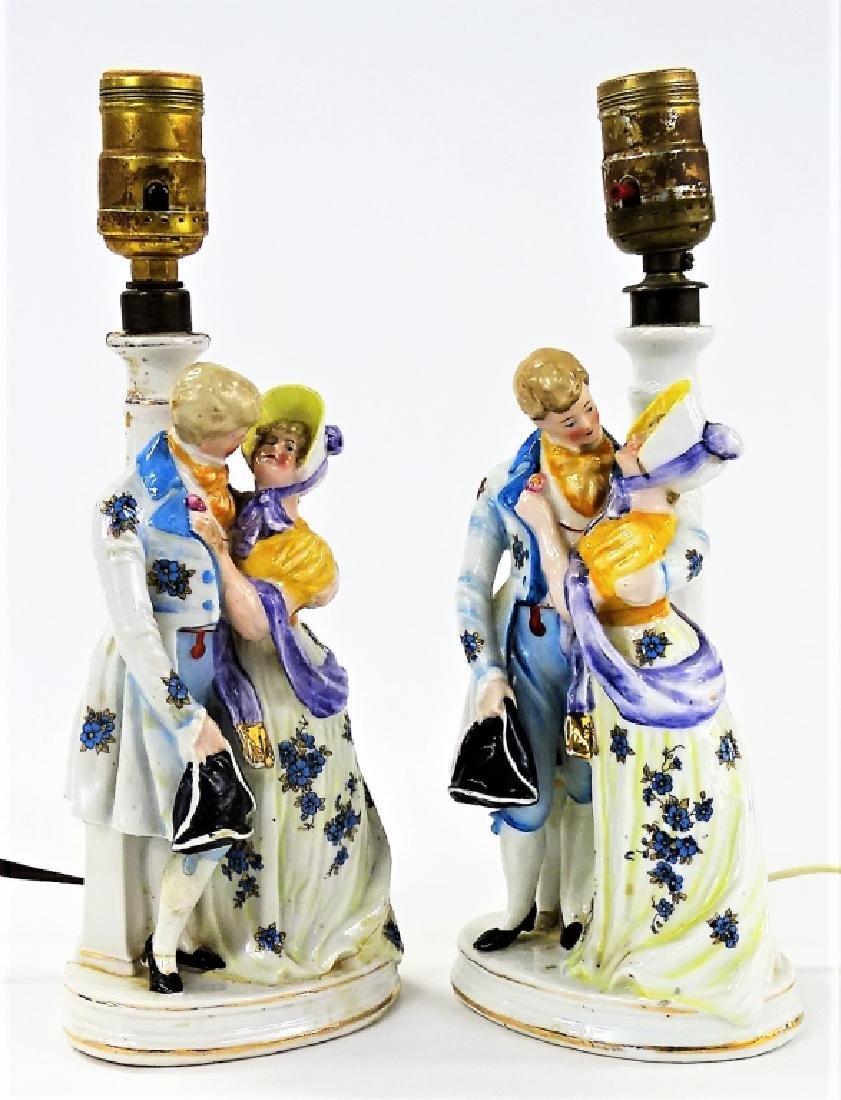 PR ANTIQUE GERMAN FIGURAL PORCELAIN TABLE LAMPS