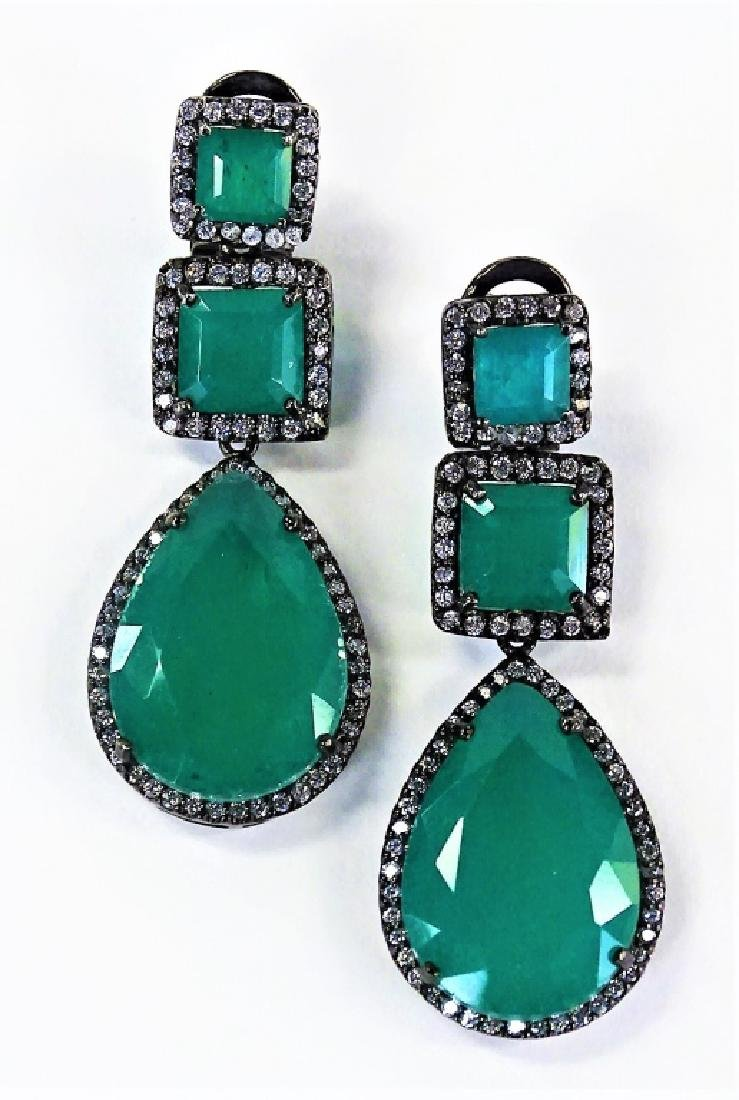 ESTATE EMERALD DUBLET WHITE SAPPHIRE 925 EARRINGS