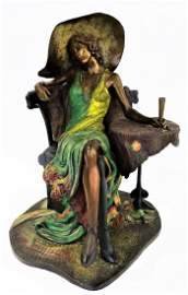 ISAAC MAIMON COLD PAINTED BRONZE OF SEATED WOMAN