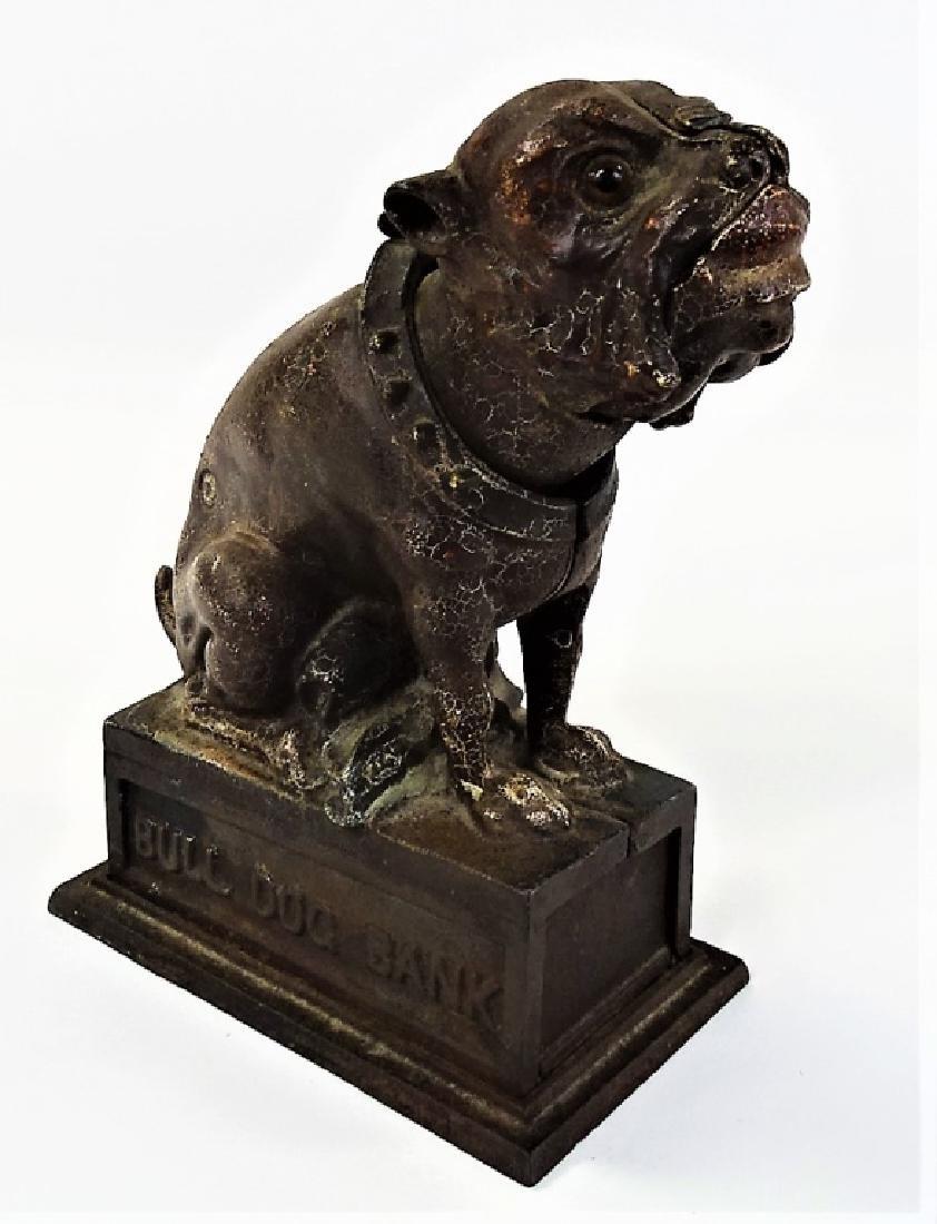 J&E STEVENS CAST IRON MECHANICAL BULL DOG BANK