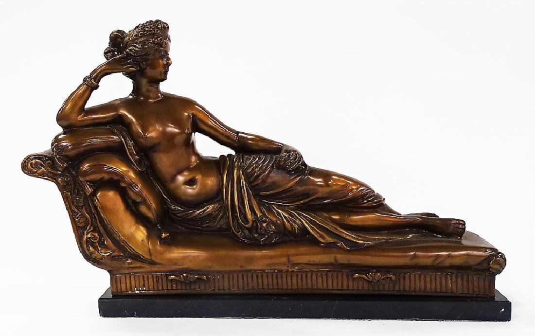 20TH CENTURY CAST BRONZE OF RECLINING NUDE