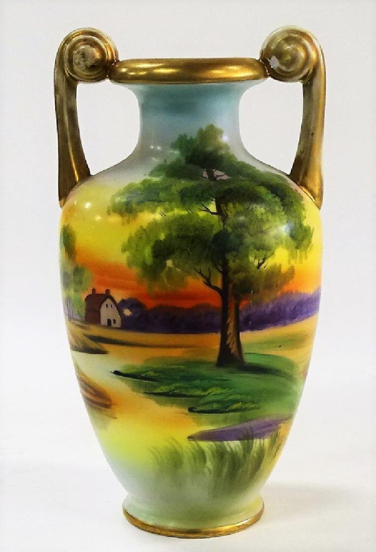 HAND PAINTED NIPPON PORCELAIN HANDLED VASE