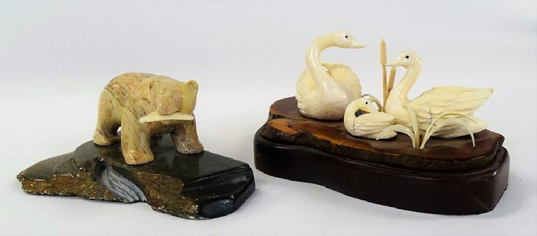 2 HAND CARVED NATURAL MATERIAL WILDLIFE SCULPTURES