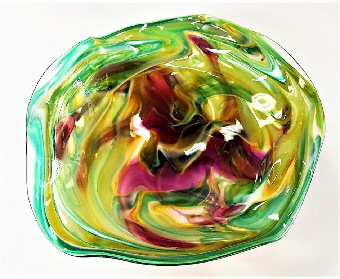 SIGNED CONTEMPORARY ART GLASS COMPOTE