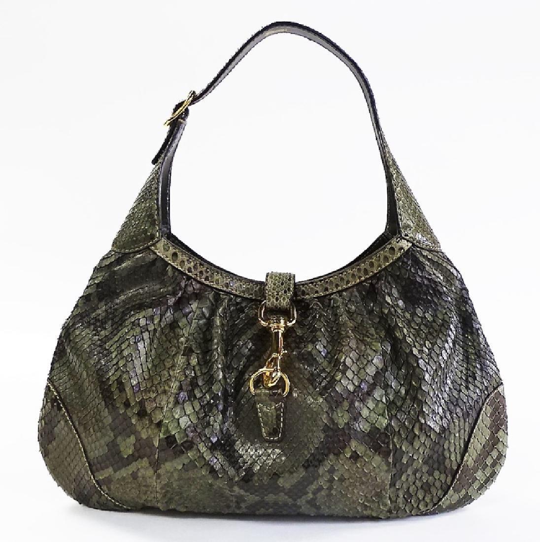 GUCCI HERITAGE JACKIE-O GREEN PYTHON SHOULDER BAG