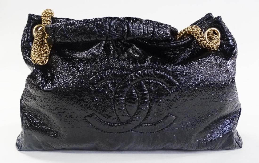 AUTHENTIC CHANEL SHINY BLACK LEATHER TOTE BAG