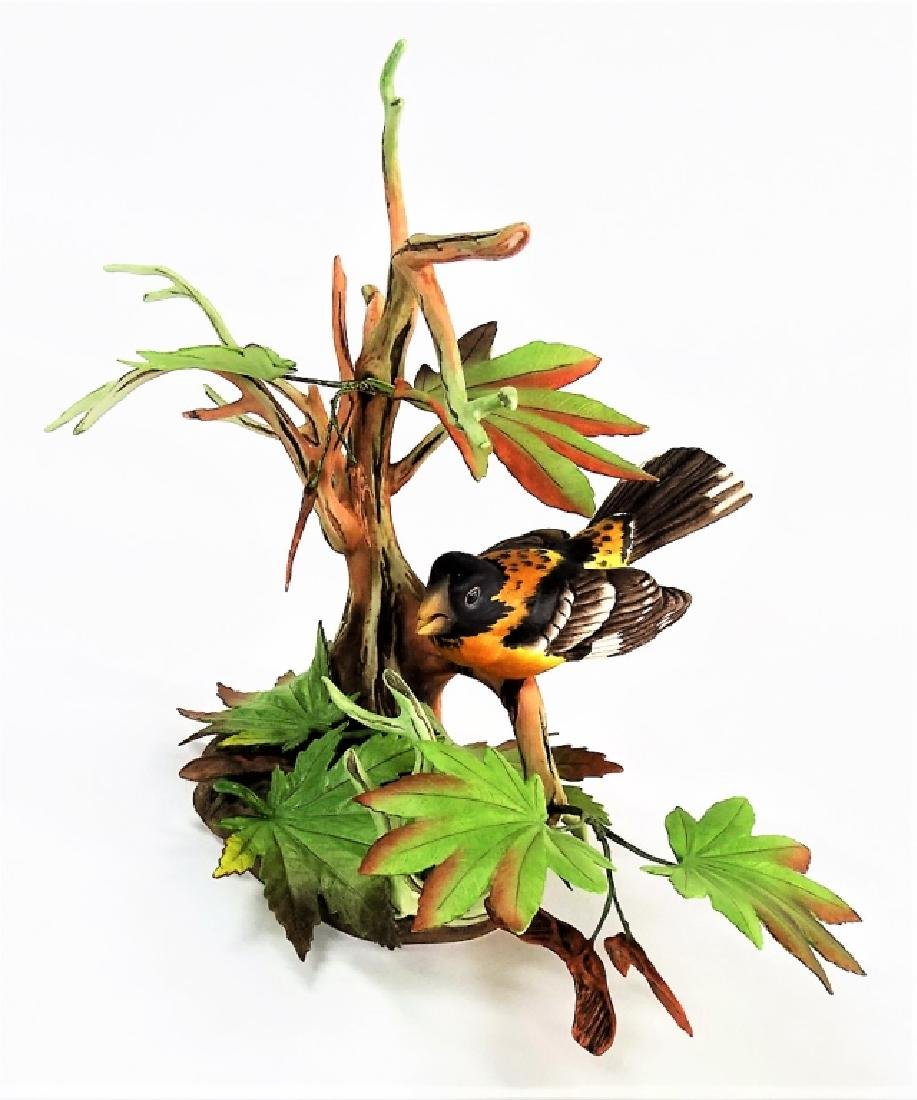 BOEHM PORCELAIN BLACK HEADED GROSBEAK FIGURE