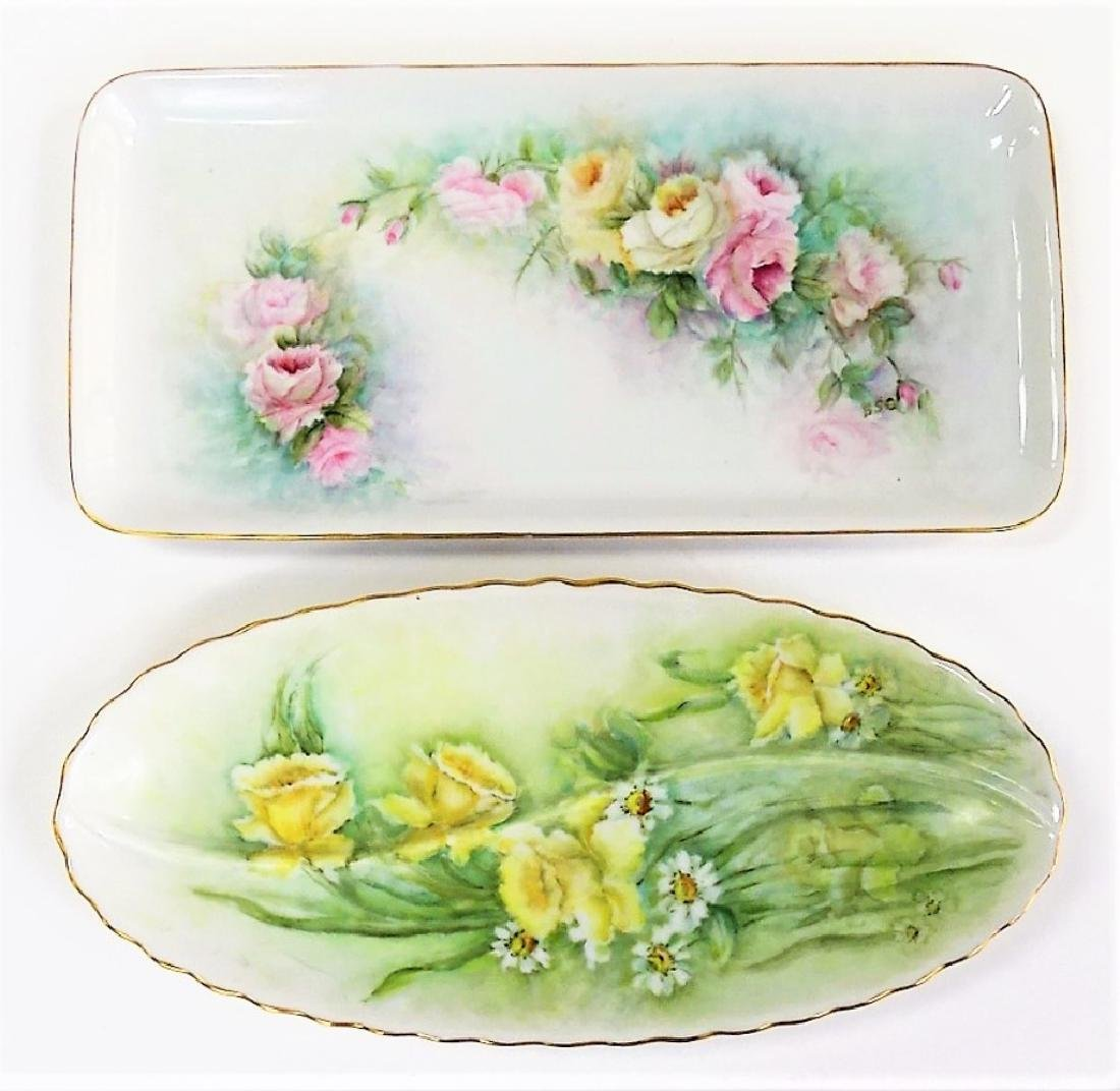 2 ANTIQUE HAND PAINTED CONTINENTAL PORCELAIN TRAYS