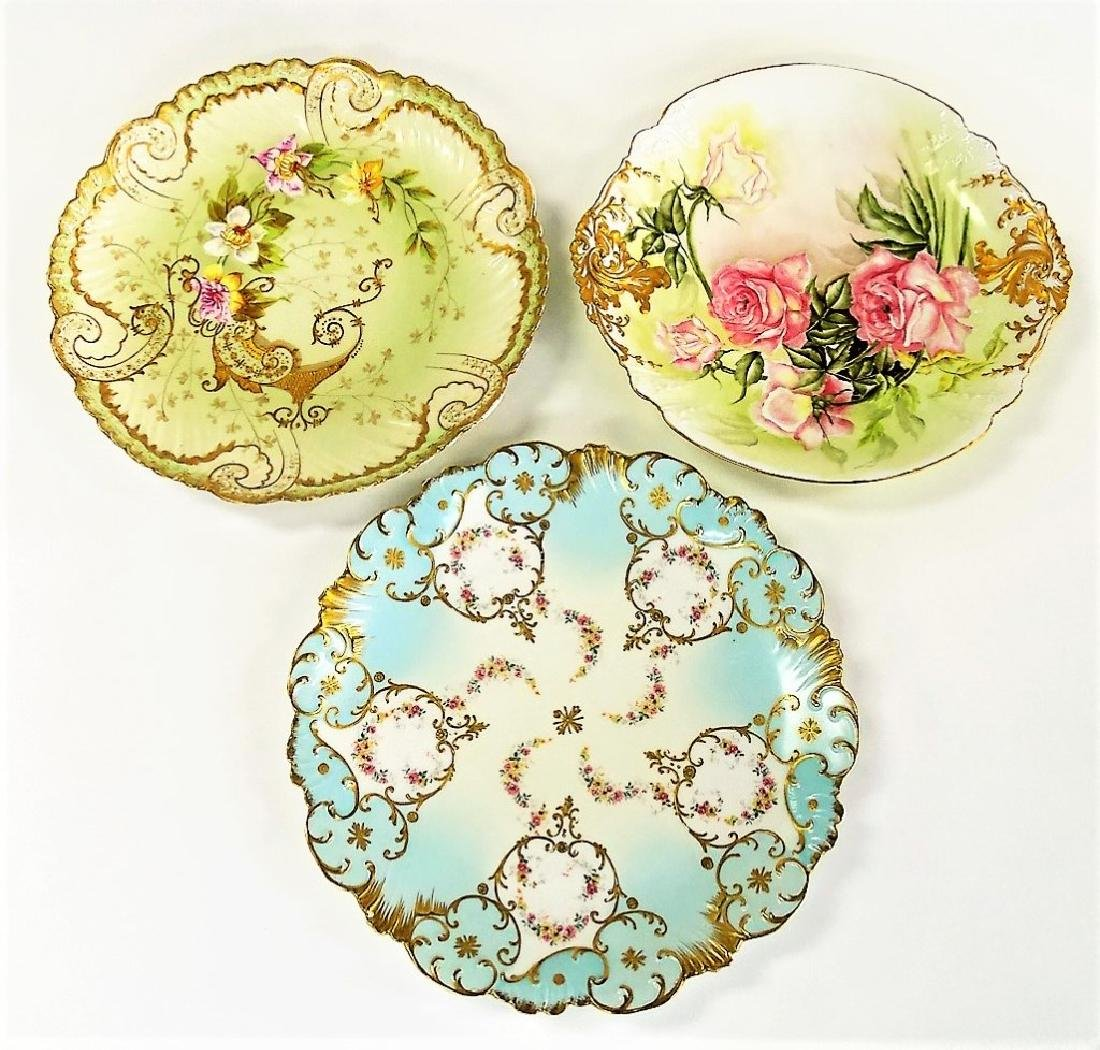 19TH CENTURY H/P LIMOGES FLORAL PORCELAIN CHARGERS