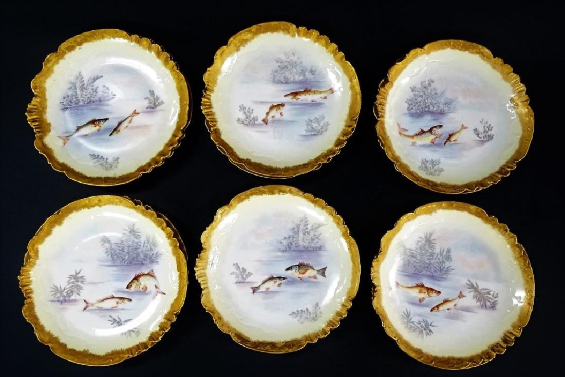 12 ELITE WORKS LIMOGES H/P PORCELAIN FISH PLATES