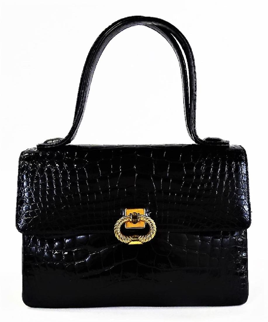 VINTAGE FINESSE FAUX CROCODILE HANDBAG