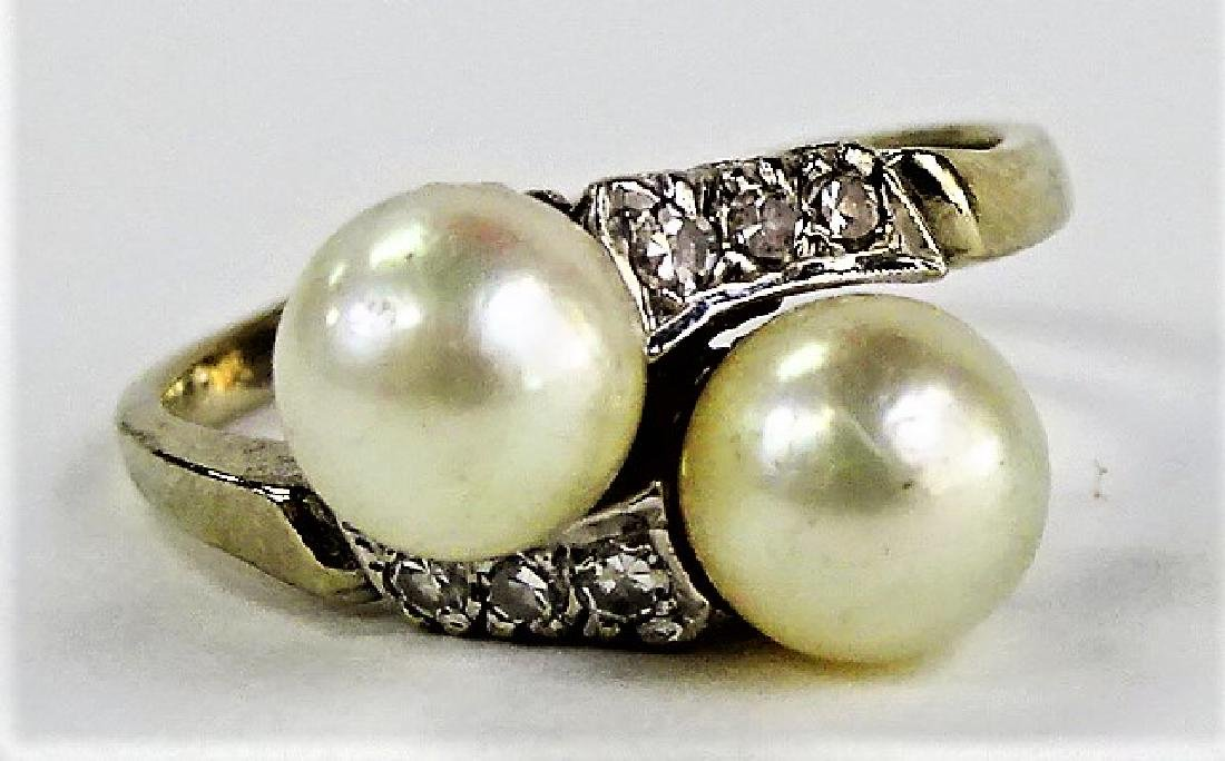 LADIES FANCY 14KT WG PEARL & DIAMOND RING