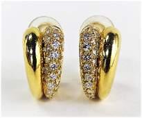 CARTIER 18KT & SPLIT PAVE DIAMOND HUGGIE EARRINGS