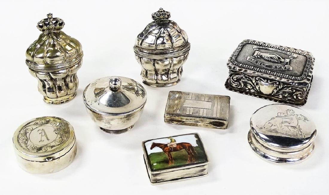 COLLECTION OF 8 ASSORTED STERLING PILL BOXES