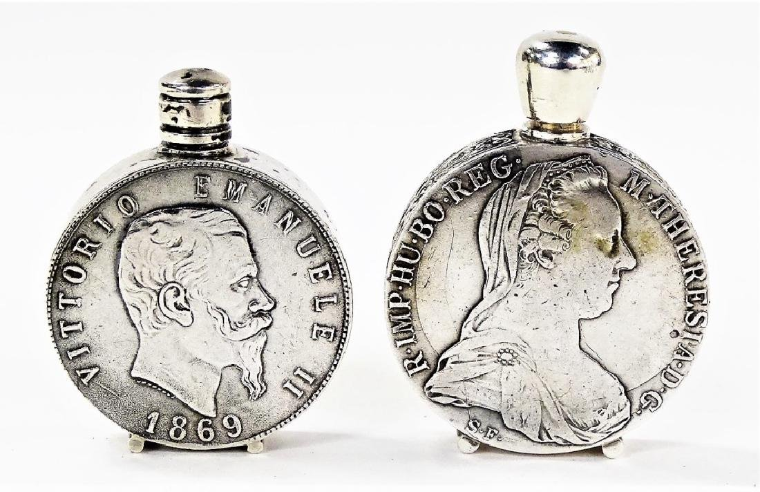 TWO ANTIQUE .800 SILVER COIN PERFUME BOTTLES