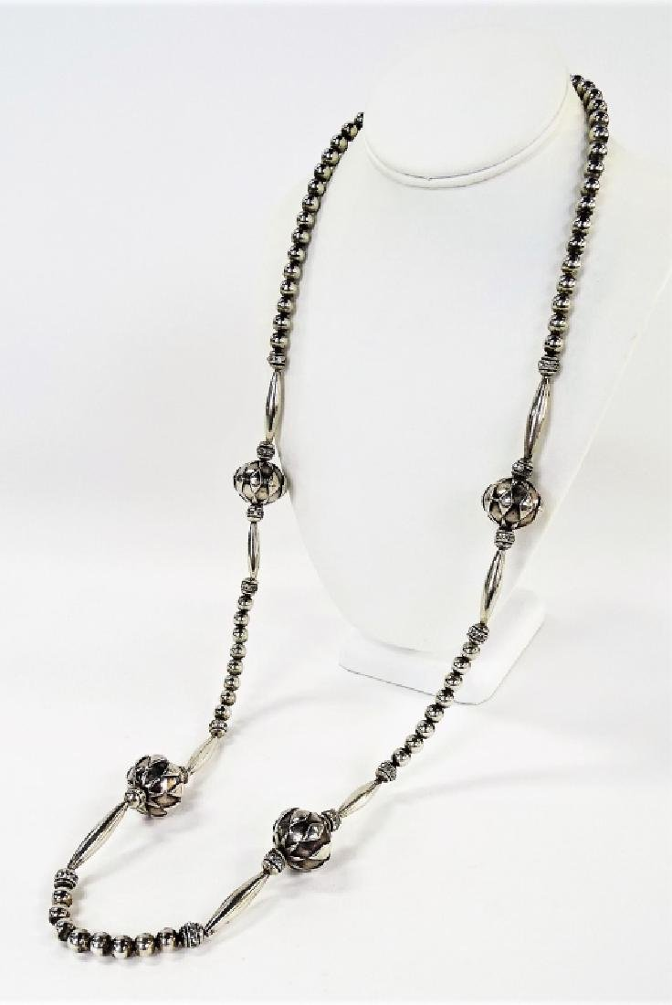 VTG STERLING SILVER MELON BEAD NECKLACE