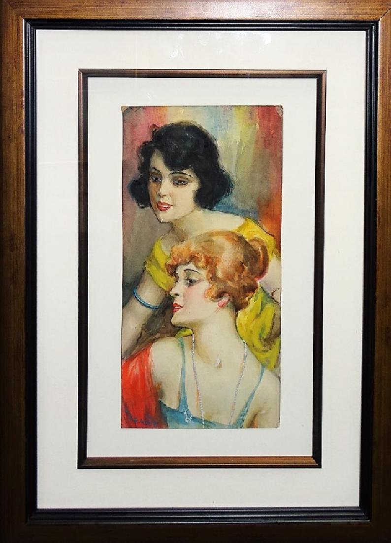 SIGNED AMERICAN WATERCOLOR ON PAPER PORTRAIT PTG