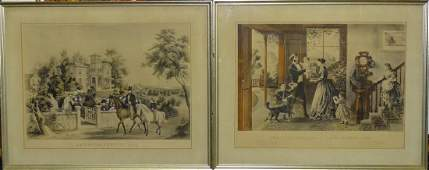 PR FRAMED CURRIER  IVES STONE LITHOGRAPH PRINTS