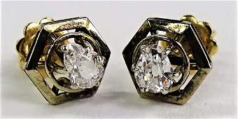 PR LADIES 14KT YG SCREWBACK DIAMOND EARRINGS