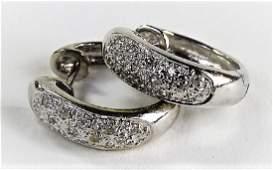PR LADIES 14KT WG DIAMOND HUGGIE HOOP EARRINGS